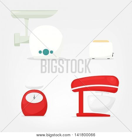 set of kitchen appliances from grinder, toaster, scales, mixer