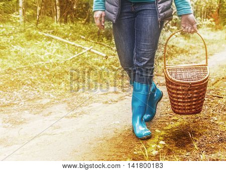 A girl walks along a forest road with a picnic basket.
