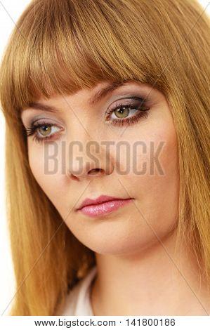 Woman Sad Face Expression Closeup