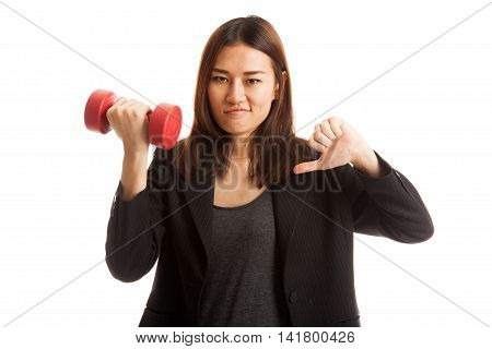 Unhappy Asian Business Woman Thumbs Down With Dumbbells.