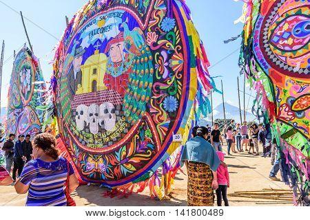 Sumpango Guatemala - November 1 2015: Visitors at giant kite festival on All Saints' Day honoring spirits of dead.