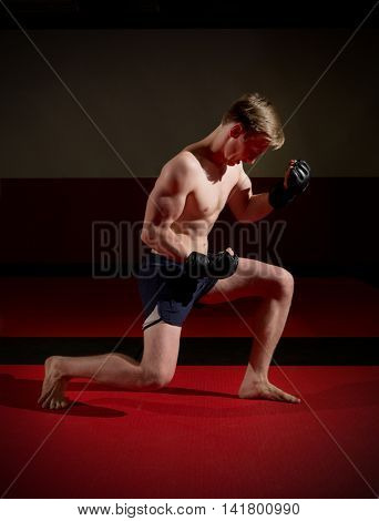 Training of young kickboxer at gym