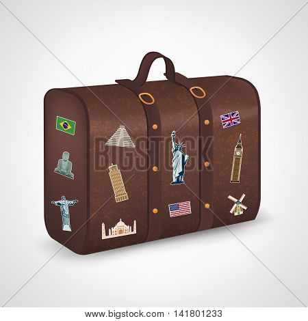 Vintage suitcase with collection of travel labels. Travel and Tourism. Vector illustration