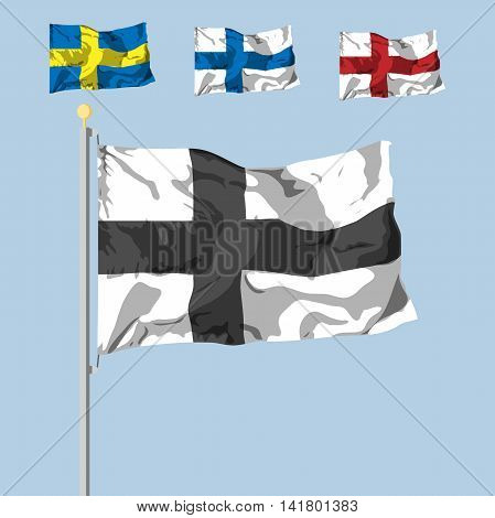 blank of the flag with the cross. dinamic shadow effect. Vector illustration. flat design.