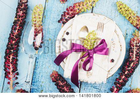 Tableware With Violet Flowers Of Lakonos American
