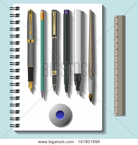 school stationery template set. Vector realistic stationery mock up isolated on blue background. Vector Image. school supplies.