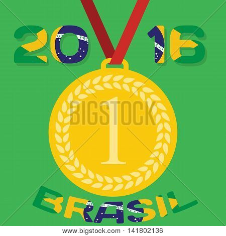 Gold medal with inscription in Portuguese and interpret flag of Brazil. Vector Illustration. EPS10