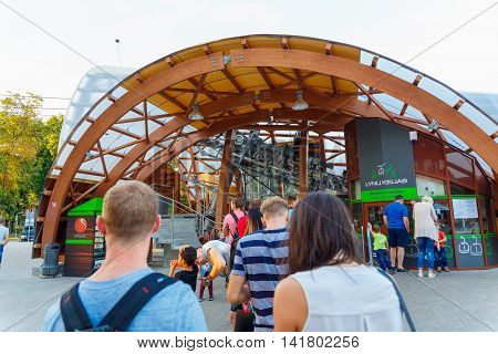 DRUSKININKAI LITHUANIA - AUG 08: Tourists waiting for the cable car at August 08 2016 in Druskininkai Lithuania