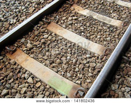 rail railroad or railway of train tracks