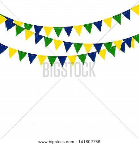 Festive boxes of color flag of Brazil on White Background. Vector Illustration. EPS10