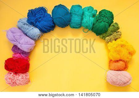Threads Of Brightly Colored Yarn. Knitting. Balls Of Yarn.