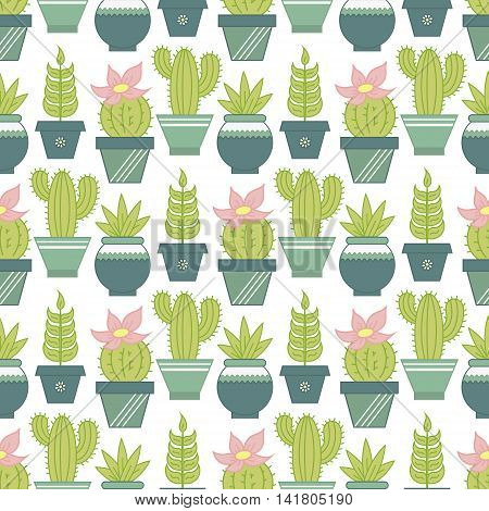 Vector seamless pattern with succulent plants and cactuses in pots. Flat style