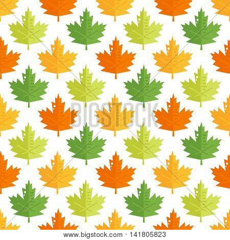 Seamless pattern with colorful maple leaves. Autumn vector background.