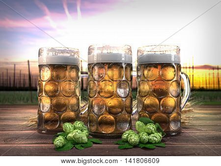 three oktoberfest glasses of beer with barley and hops on wooden desk and hop-garden on background- 3D render
