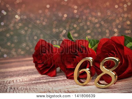 birthday concept with red roses on wooden desk. 3D render - sixty-eighth birthday. 68th