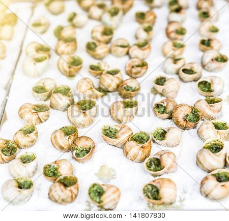 cooked snails with garlic sauce