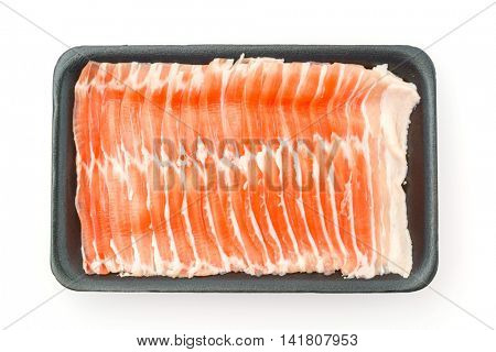 Slide of  raw pork  on white background