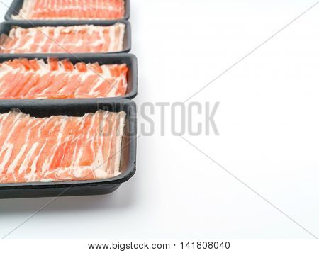Slide of  raw pork  on white background