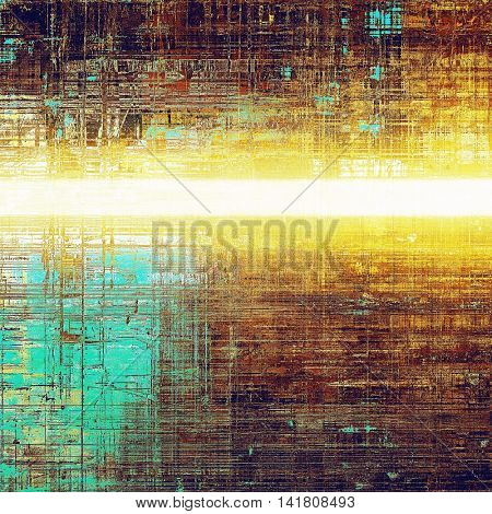 Highly detailed scratched texture, aged grungy background. Vintage style composition with different color patterns: yellow (beige); brown; blue; red (orange); purple (violet); white