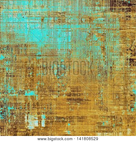 Retro design on grunge background or aged faded texture. With different color patterns: yellow (beige); brown; blue; cyan