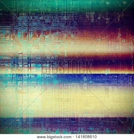 Aged vintage background with weathered texture, grunge design elements and different color patterns: yellow (beige); green; blue; red (orange); purple (violet); pink