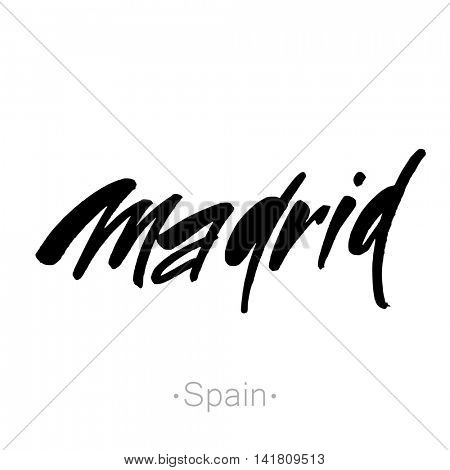 Madrid, Spain hand-lettering calligraphy. Madrid hand drawn vector stock illustration. Modern brush ink. Isolated on white background.