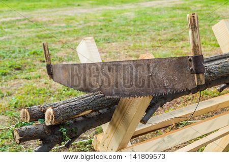 cutting trees for firewood hand saw cutting