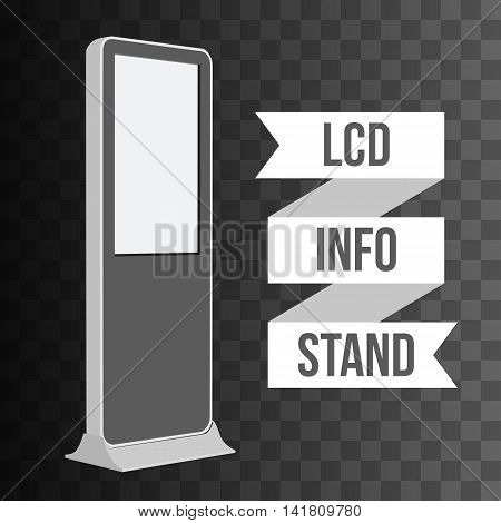 LCD TV Info Floor Stand. Blank Trade Show Booth. Vector illustration of kiosk machine on black transparent background. Ad template for your expo design with ribbon banner text.