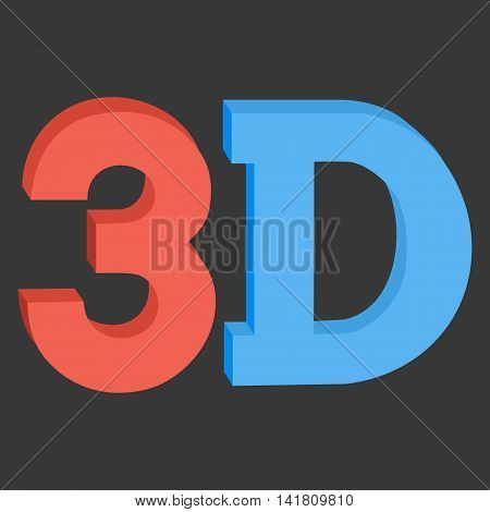 3D three-dimensional button sign in solid red and blue colors icon on black background. Vector illustration.