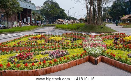 SAI GON, VIET NAM, February 12, 2016 Nguyen Hue flower road, displaying flowers, traditionally, in the spring, the center of Sai Gon, Vietnam