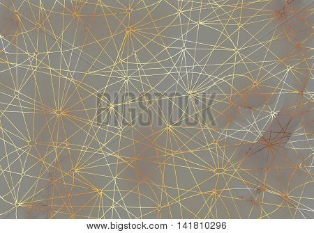 Abstract background with golden shining lines on gray texture for cards, textile, arts. Mystic or occult linear pattern with hand drawn elements