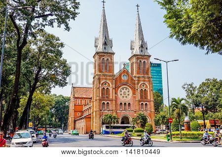 HO CHI MINH CITY, VIET NAM - MARCH 13, 2016: Notre Dame Cathedral in Sai Gon.