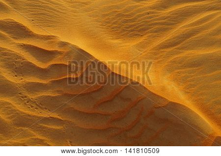 Golden Desert Sand. Liwa Desert, Abu Dhabi, United Arab Emirates. 15th September, 2015