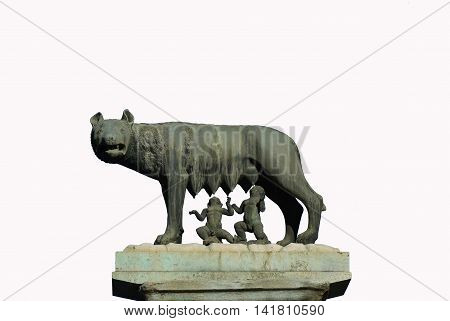The legendary Capitoline She-Wolf with Twins Romulus and Remus symbolizes the Founding of Rome. A small bronze replica in Capitol Hill Square.