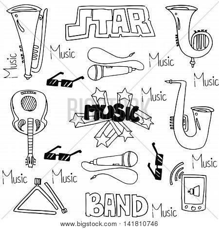 Collection stock music set doodles vector art