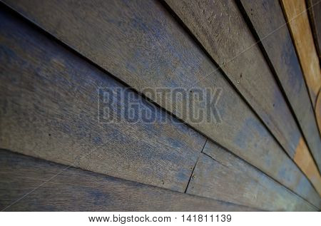 Old wooden wall, Shooting angle in obliquely.