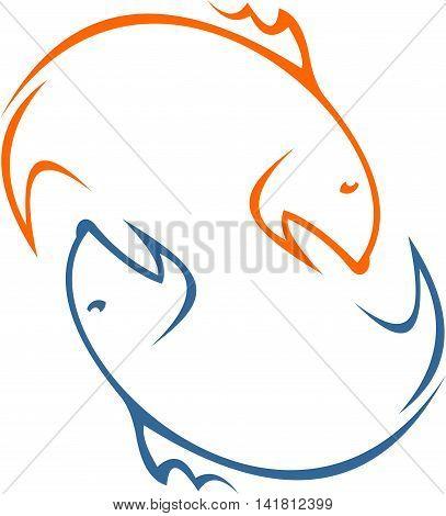 stock logo illustration silhouette fishing sport icon