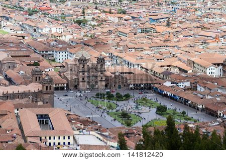 View Of The Cusco Cathedral And Plaza De Armas