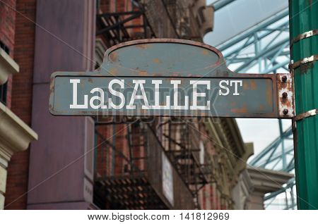 Image Of A Street Sign For Lasalle Street, Chicago