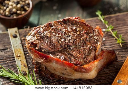 Organic Grass Fed Bacon Wrapped Sirloin Steak
