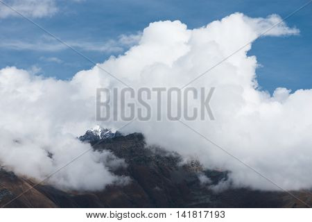 Mountain top in clouds. Caucasus, Georgia, Zemo Svaneti