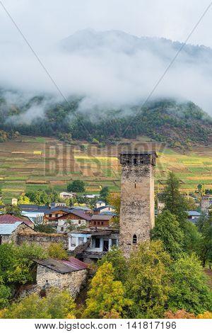 Old Georgia attractions. Stone medieval towers and houses.  Mestia City. Caucasus, Georgia, Zemo Svaneti