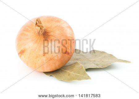 Onions and bay leaf isolated on white. Selective focus.