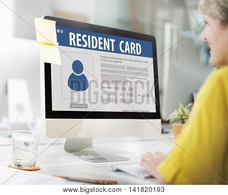 Resident Card Identification Data Information Immigration Concept
