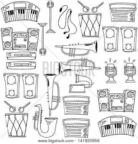 Doodle of theme music object stock collection vector art
