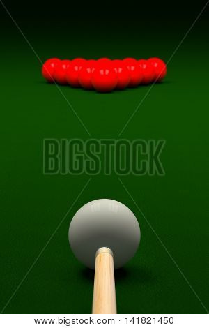 Cue Aiming White Ball Or Cue Ball On Snooker Table, 3D Rendering