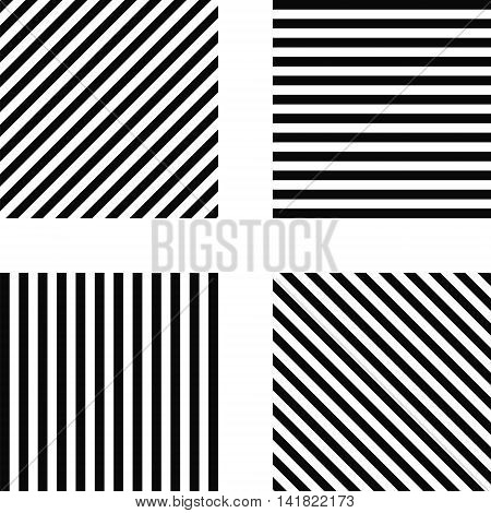 Striped square pattern - horizontal stripes, vertical stripes, diagonal stripes in the square, for print or design