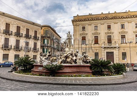 Archimedes Square In Syracuse, Sicily, Italy