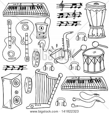 Doodle of hand draw music pack stock collection