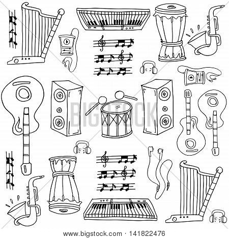 Doodle of music stock collection with hand draw